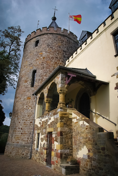 Burg Rode – the imposing defence tower houses a part of the exhibition 